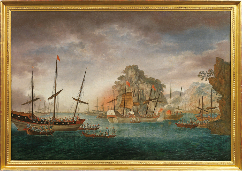 清兵圍剿海盜, 約1820年。<br/>(香港海事博物館藏,Roger and Miranda Keverne 贈)