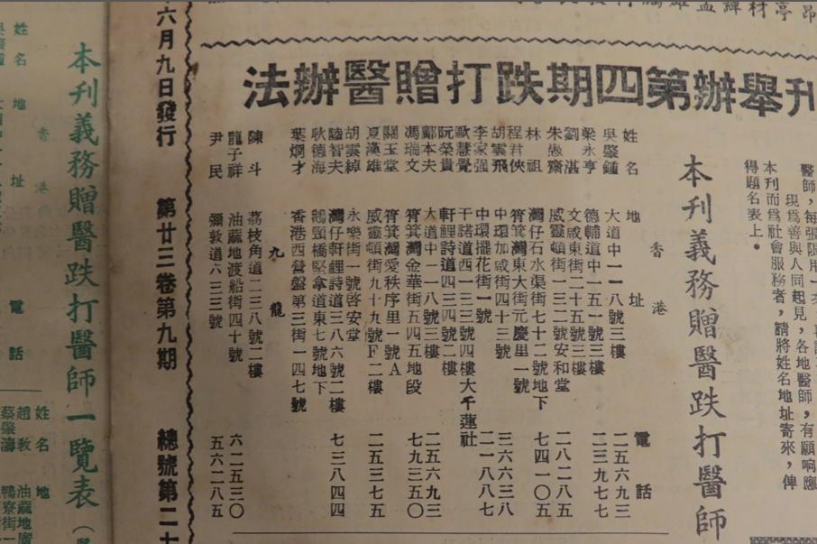 上世紀五十年代武術雜誌的顧問地址,可見不少武術師傅是住在灣仔和筲箕灣區。